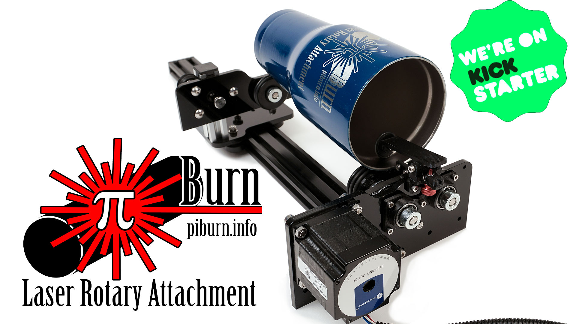 My first Kickstarter project – PiBurn Rotary Attachment for lasers